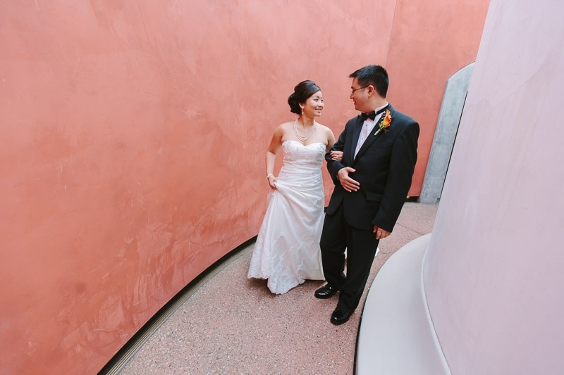 Bride and groom at their De Young Museum San Francisco wedding