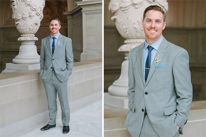 Groom portrait at San Francisco City Hall wedding