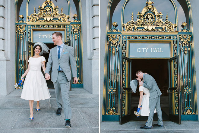 San Francisco City Hall wedding couple kissing at the front door