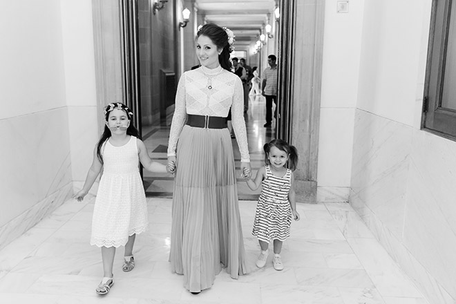 Bride walking with her two nieces