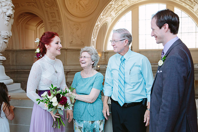 Grandparent blessing the marriage of the granddaughter