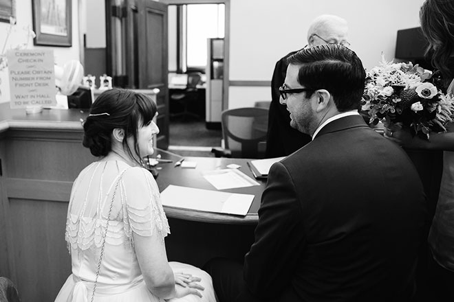 bride and groom in the County Clerk's Office