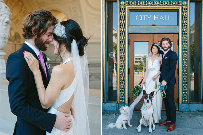 Bride and groom with their dogs at their San Francisco City Hall wedding