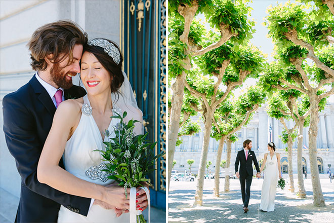Bride and groom walking under the sycamore trees at Civic Center Plaza in San Francisco
