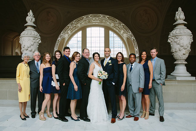 Family portrait at San Francisco City Hall wedding