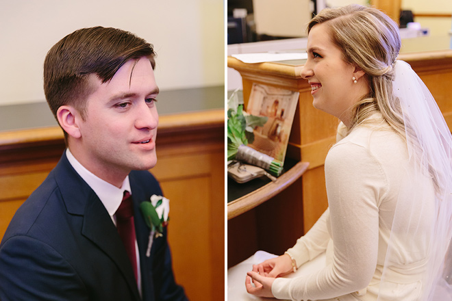 Bride and groom inside the County Clerk's Office