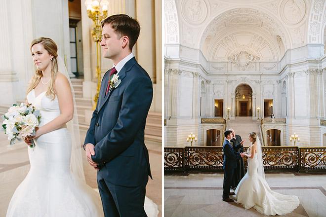Wedding ceremony on the Mayor's Balcony inside San Francisco City Hall