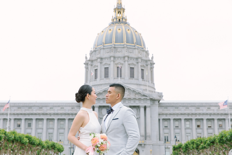 Bride and Groom in front of San Francisco City Hall