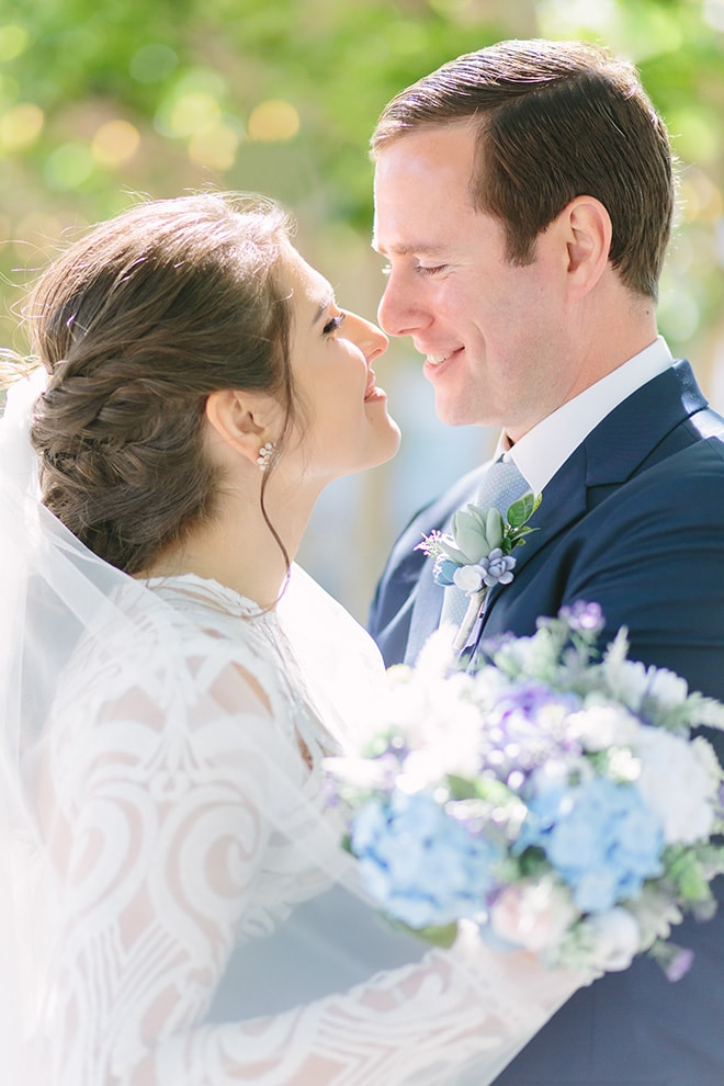 Bride and groom embrace at their San Francisco wedding.
