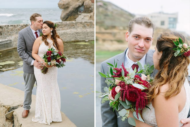 Top engagement session photo locations in San Francisco. Bride and groom holding each other at the Sutro Baths.