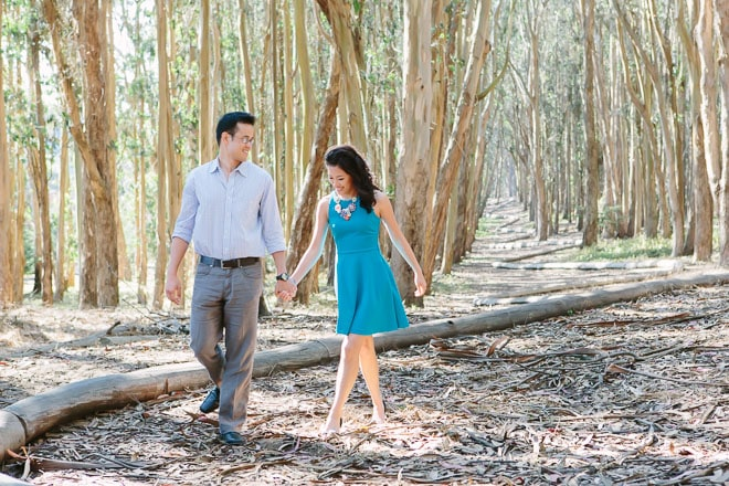 Presidio Woodline San Francisco engagement session. Couple walking together on the Woodline.